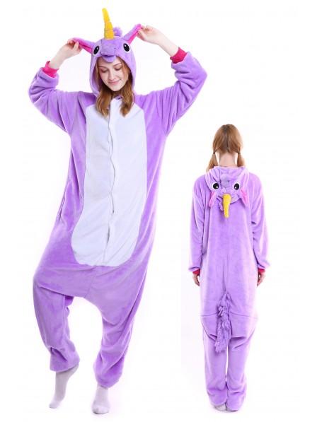 Combinaison Pyjama Violet Licorne Animaux Déguisement Adulte