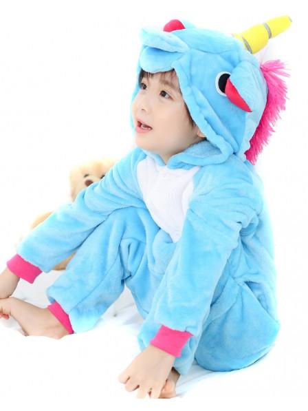 Combinaison Pyjama Bleu Licorne Animaux Déguisement Enfants