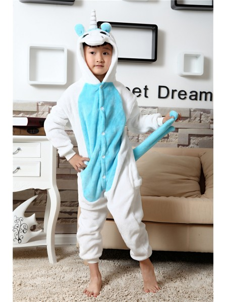 Combinaison Pyjama Bleu Licorne Animaux Déguisement Enfants Halloween