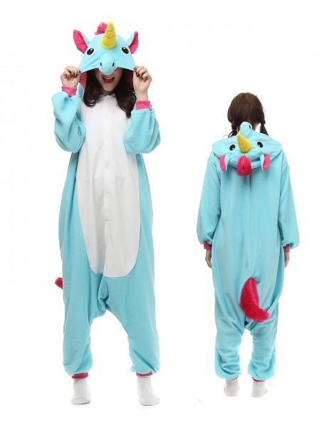 Combinaison Pyjama Bleu Licorne Animaux Déguisement