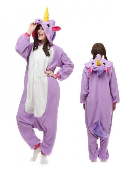 Combinaison Pyjama Violet Licorne Animaux Déguisement Polaire