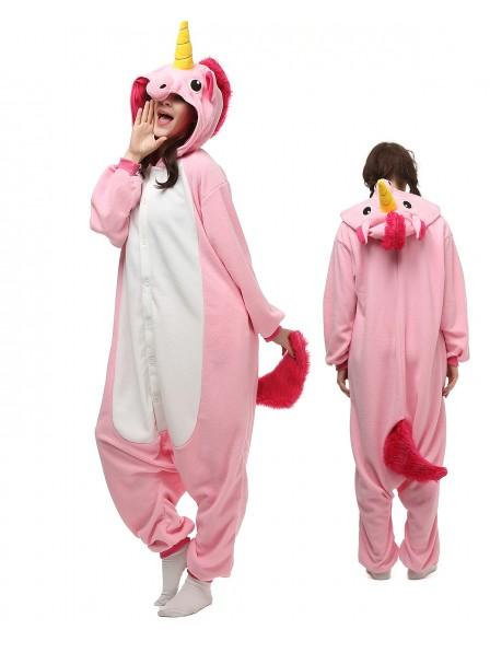 Combinaison Pyjama Rose Licorne Animaux Déguisement Polaire