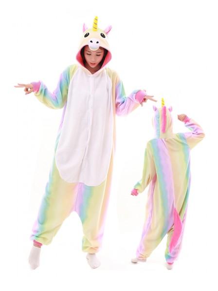 Combinaison Pyjama Pastel Hologram Licorne Animaux Déguisement Polaire