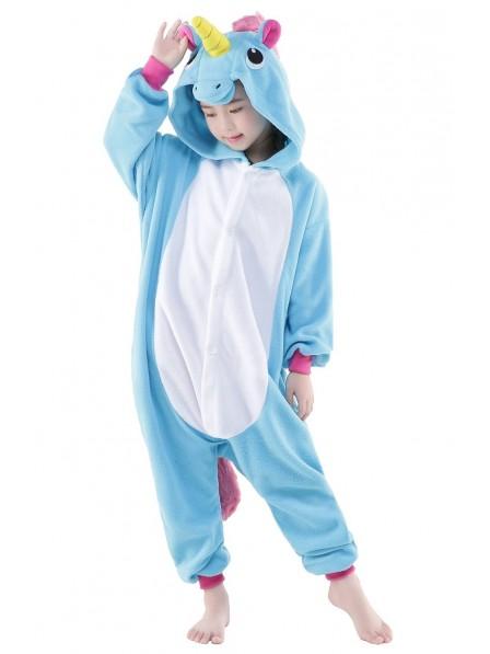 Combinaison Pyjama Bleu Licorne Animaux Enfants Polaire