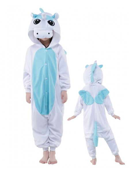 Combinaison Pyjama Bleu Licorne Animaux Enfants