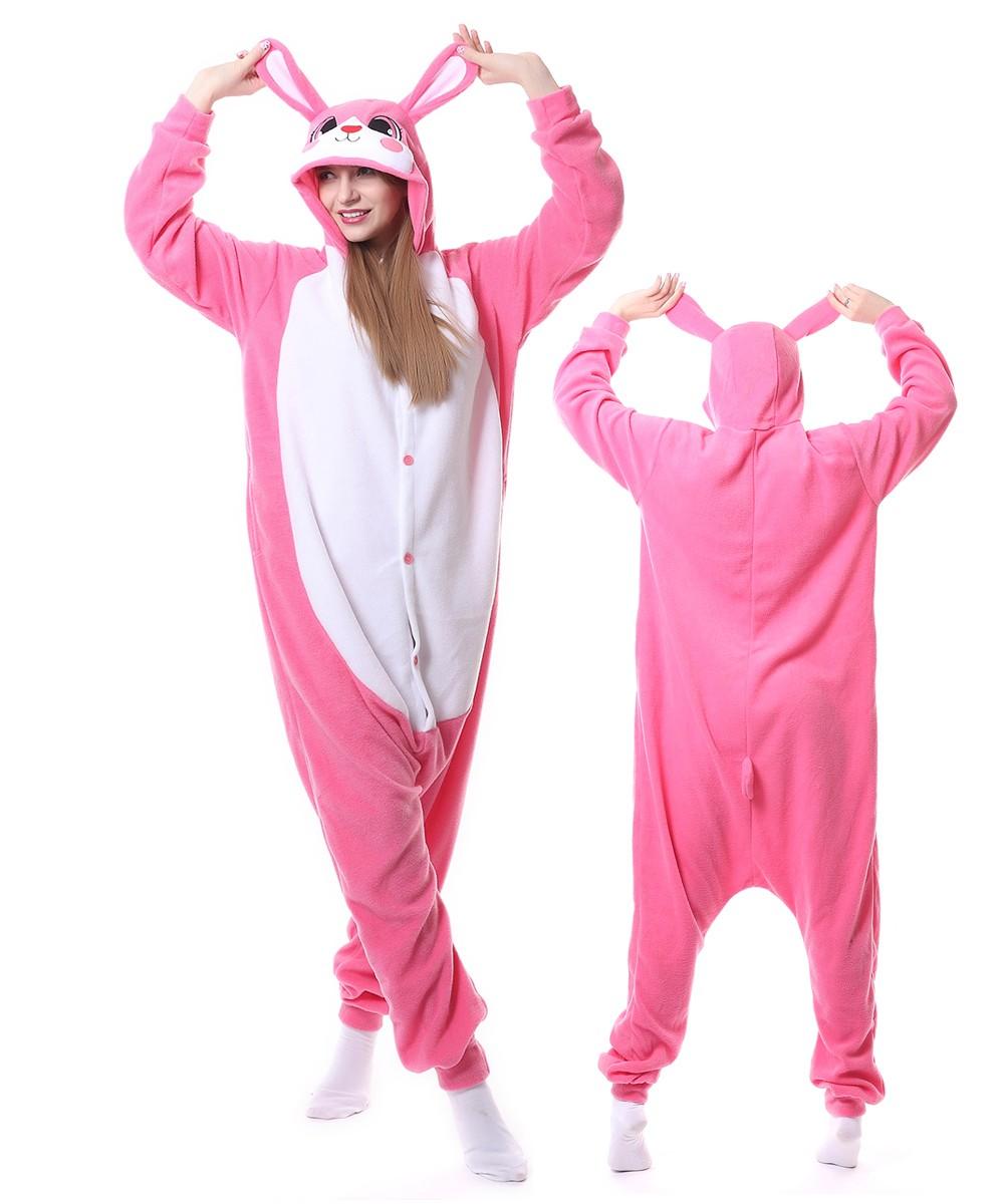 super pas cher se compare à tout à fait stylé 100% de qualité Combinaison Pyjama Rose Lapin Animaux Déguisement Polaire ...